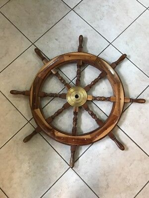 """36"""" Authentic 8 Spoke Wood and Brass Yacht Nautical Ship Wheel Heavy"""