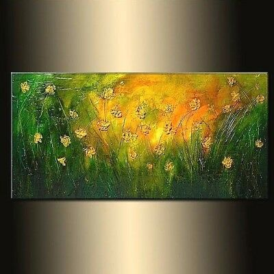 Green Texture Modern Palette Knife Landscape Abstract Painting By Henry Parsinia