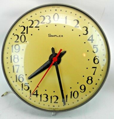 "Simplex Vintage 24hr Military Time Wall Clock 507-099 (LARGE 19 1/2"") TL Dia. HS"
