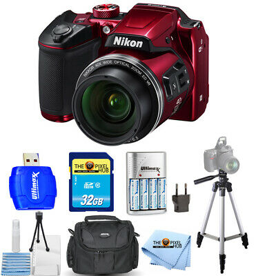 Nikon COOLPIX B500 Digital Camera (Red) Bundle with 32GB + AA Batteries + Case