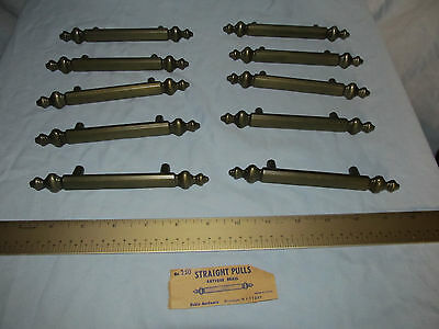 """Antique Brass Straight Pull Cabinet Handles 6"""" Long - Lot of 10 with Hardware"""