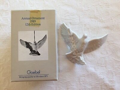 1989 Goebel Dove with white Holly Berry Limb - Annual Christmas Ornament 12th ed