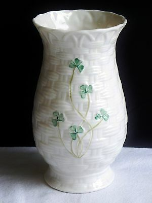 "Vintage Belleek Vase 6"" Shamrock Basketweave Kylemore Irish Porcelain Ireland"