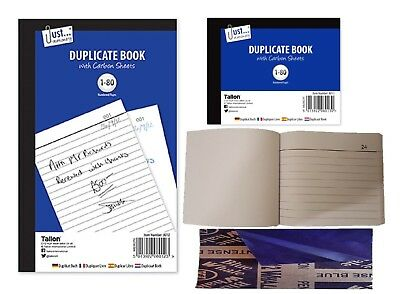 Half Size & FULL SIZE Duplicate Book Numbered Pages 1 -80 Receipt/Invoice/ETC..