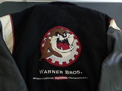 TAZ Tasmanian Devil VINTAGE Wool Leather Jacket 1998 Warner Brothers XL FreeShip