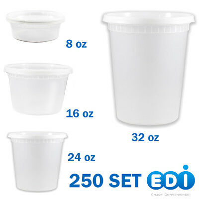 250 sets - 8, 16, 24, or 32 ounce Round Deli Containers Microwavable with Lids