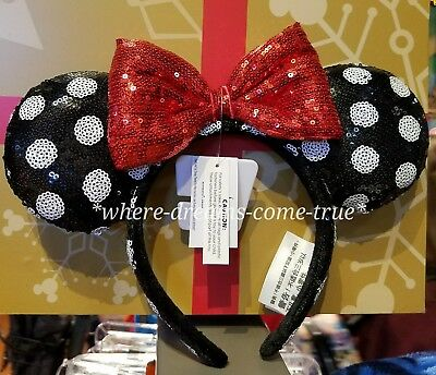 Disney Park Exclusive Black and White Polka Dots Minnie Mouse Ears Headband NEW