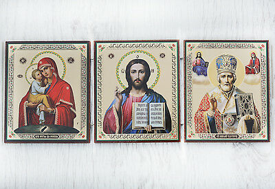 Wood Orthodox Triptych Travel Icon - Jesus, Mary, st. Nicholas