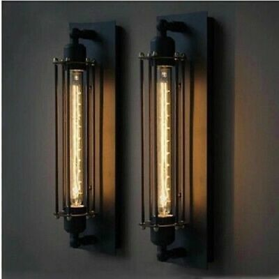 2X Vintage Retro Industrial Metal Cage Wall Lamp Sconce Light Fixture Flute Wall
