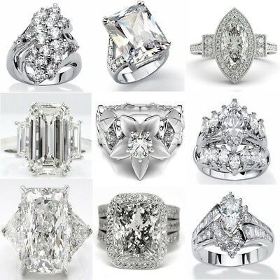 Dazzling 925 Sterling Silver White Sapphire Gemstone Rings Wedding Women Jewelry
