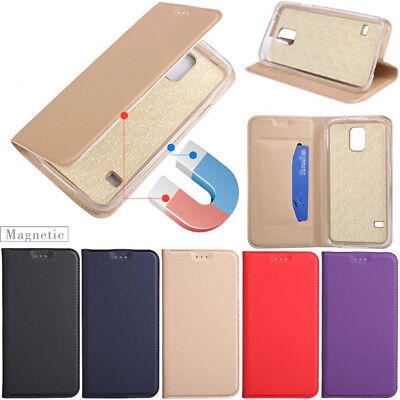 For Samsung Galaxy S5 S6 S7 Edge S8 Plus Magnetic Leather Wallet Flip Case Cover