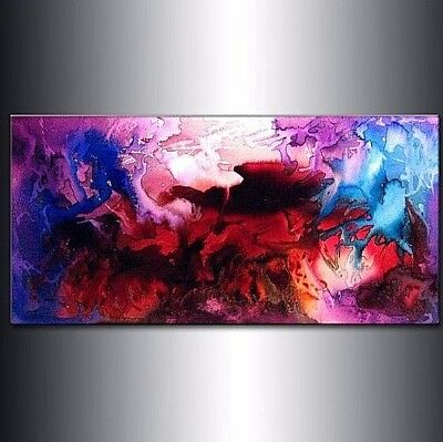 CONTEMPORARY ABSTRACT PAINTING, MODERN COLORFUL ART BY HENRY PARSINIA 48x24