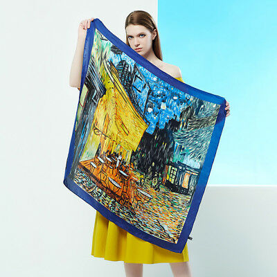100% Silk Square Scarf Headscarfs Oil Painting Van Gogh's Cafe Terrace at Night