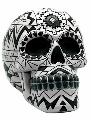Black and White Aztec Day of the Dead Sugar Skull Coin Bank Dia De Los Muertos