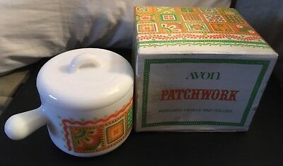 Vintage Avon Patchwork Perfumed Candle and Holder