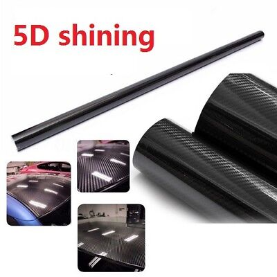 NEW 3D 5D Glossy Carbon Fiber Wrap Vinyl Decal Film Sticker Car Air Release Wrap