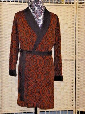 mans DRESSING GOWN robe smoking jacket CRIMPLENE brown russet paisley small