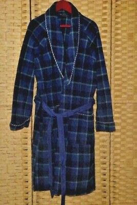 """childs DRESSING GOWN robe theatre props blue navy plaid wool braiding 36"""" chest"""
