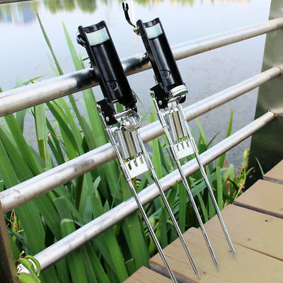 Stainless Steel Three Spring Fishing Rod Holder Rack W/ Auto Tip-Up Hook Setter