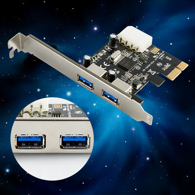 PCI-E Express USB 3.0 2 Port HUB Card Adapter with 4 pin power port for PC H&T