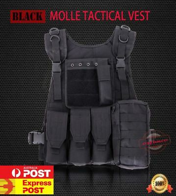 BLACK Military Tactical Molle Hunting Vest Paintball Jacket SWAT Airsoft Army OZ