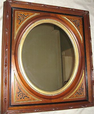Antique American Mirror in Black Walnut Frame