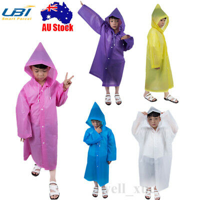 EVA Kids Hood Raincoat Jacket Outdoor Waterproof Cycling Unisex Boy Girl Poncho