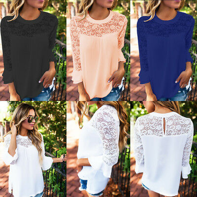 Womens Loose Chiffon Shirts Lace Stitching 3/4 Sleeve See-Through Blouse Tops