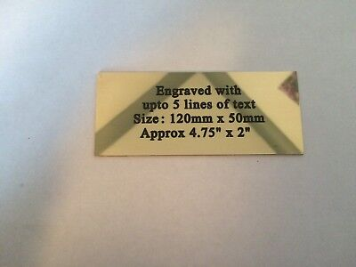 """Solid Brass Plaque size 120 x 50mm approx 4.75"""" x 2"""" bench memorial etc"""