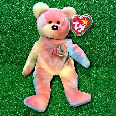Awesome 1996 Peace Bear Ty Beanie Baby With Tremendous ERRORS New Retired - MWMT