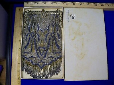 Vtg/Antique Micro Beaded Purse Silver Gold BLUE Fringe in original Box handbag