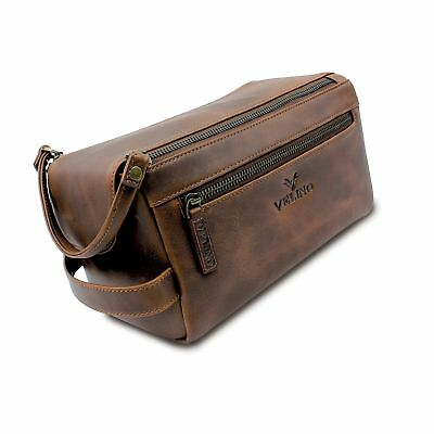 2041dc3e6e7b Velino Handmade Genuine Buffalo Leather Unisex Toiletry Bag Travel Dopp Kit  G..