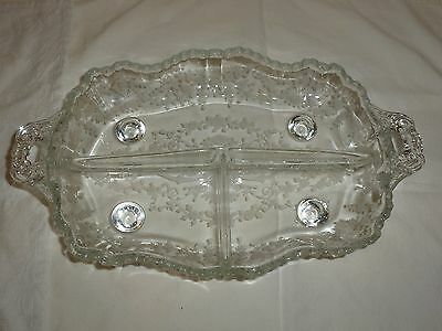 Vintage Cambridge Diane Pattern Three Section Relish Bowl, Footed