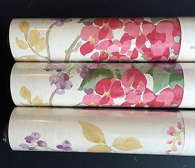 New Laura Ashley Wisteria Cranberry wallpaper Rolls Floral Red Price pr roll 12