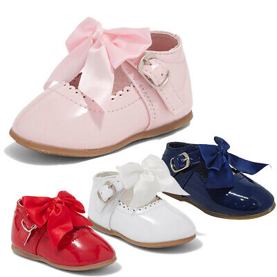 Baby Girl Ribbon Bow Spanish Pink White Patent Christening Party Wedding Shoes