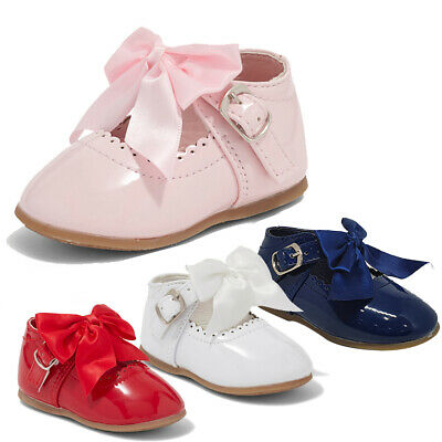 Baby Girls Spanish Patent Pink White Mary Jane Bow Party Christening Shoes Bows