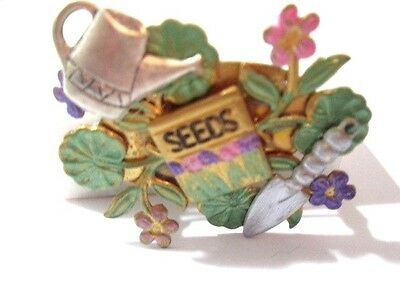 Enamel Collage Vintage Pin Gardening Theme Seeds Flowers Painted Brass Whimsical
