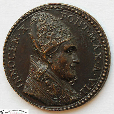 Vatican 1650 Pope Innocent X Bronze Medal. Let Them Praise At The Gates. Rare.