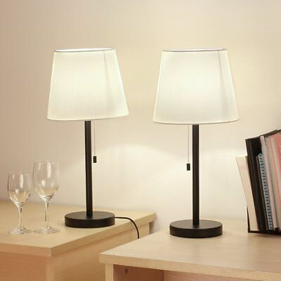 Modern Table Lamp Set of 2 Desk light Black Bedside Desk Lamps With Fabric Shade