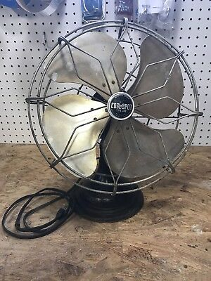 """ANTIQUE Black COOL SPOT 12"""" Oscillator Desk Table Fan Made By SIGNAL Type No 360"""