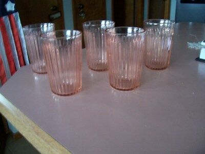 "Old Colony Lace Edge 4 1/2"" pink 9 oz tumblers (5)"