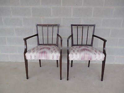 Pair Antique Edwardian / Hepplewhite Style Mahogany Arm Chairs 19th Century