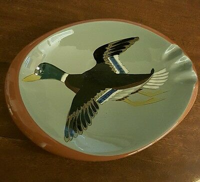 STANGL Pottery Hand Painted Mallard Duck Ashtray 1950s pottery #3926B