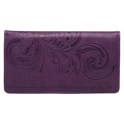 CHECKBOOK COVER I Can Do Everything Through Him PURPLE, FAUX LEATHER Free Ship