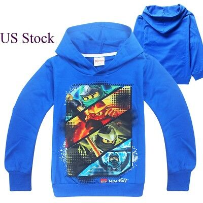 Boys Lego Ninjago Pull Over Hoodie Sweatshirt Jacket Halloween Costume O23