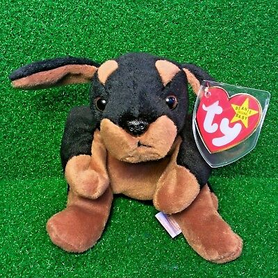 Ty Beanie Baby Doby The Doberman 1993 SCARCE 1st Ed. Plush Toy P.V.C NEW RETIRED