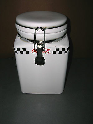 """Large Ceramic Coca Cola Canister Gibson 2002 Checkered Flag Design 8"""" Tall"""