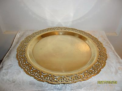 "Vintage Brass Reticulated Decorative Platter/Plate Ornate 12.5"" Round ~ Gorgeous"