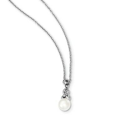 Sterling Silver 6-7mm White Freshwater Cultured Pearl CZ Pendant