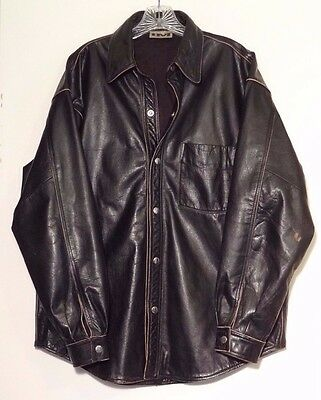 Vintage International Male Leather Shirt Size L Large Distressed Snap Front